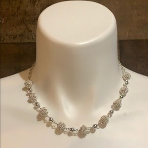 Trifari Silver Textured Ball Chain Link Necklace